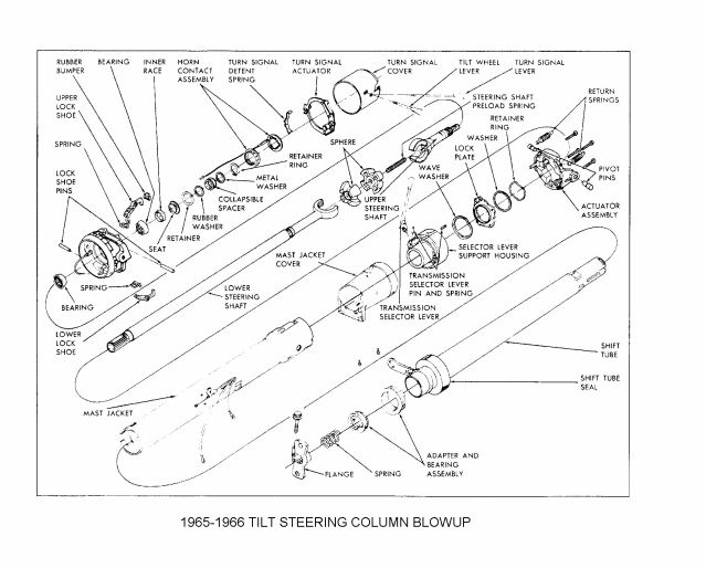 1965 66TiltStrgColumnBlowup steering column swap grumpys performance garage 1970 gm steering column wiring diagram at soozxer.org