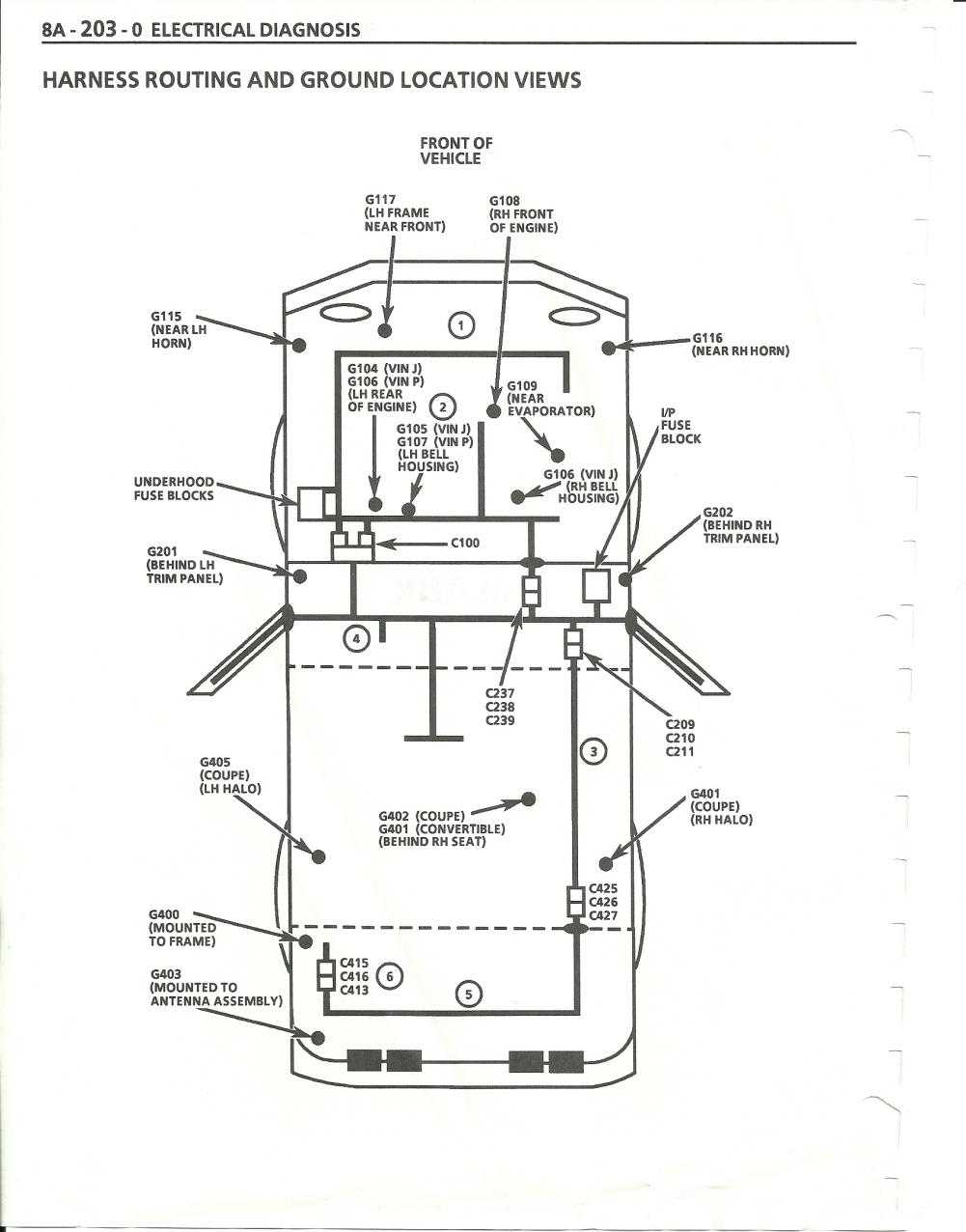 1984 corvette ground wire locations